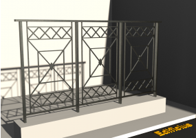 3D Railings - Balustrade [VM] - Oblique cross rim and panels