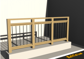 3D Railings - Classic in wood [VM] - Steel poles