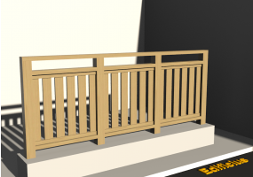 3D Railings - Classic in wood [VM] - Flat poles