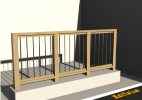 3D Railings - Balustrade in wood [VM] - Metallic poles