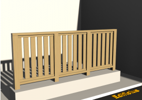 3D Railings - Balustrade in wood [VM] - Flat Poles