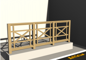 3D Railings - Balustrade in wood [VM] - Cross meshed panel
