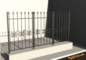 3D Fence - Classic with spears and rims