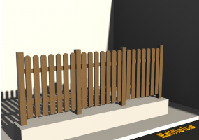 3D Fence - Wooden picket fence with rounded off poles