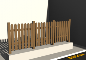 3D Fence - Wooden picket fence with pointed poles