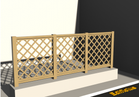 3D Fence - Wooden stringers with oblique square meshed panel