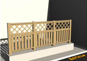 3D Fence - Wooden stringers with oblique square meshed panel and poles