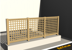 3D Fence - Wooden stringers with square meshed panel