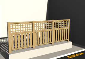 3D Fence - Wooden stringers with square meshed panel and poles