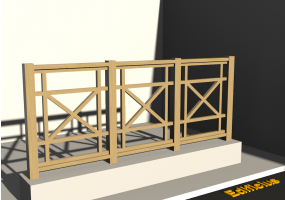 3D Fence - Wooden stringers with crossed mesh panel