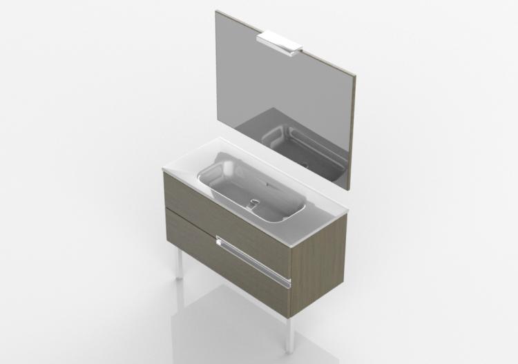3D - Mueble lavabo individual 100x460x740 - Roca...