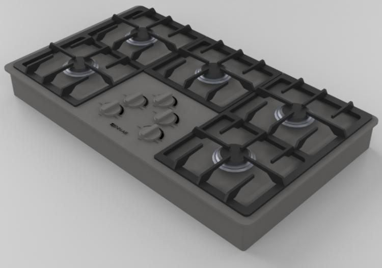 Elettrodomestici 3D - Piano cottura a gas 5 fuochi 36\