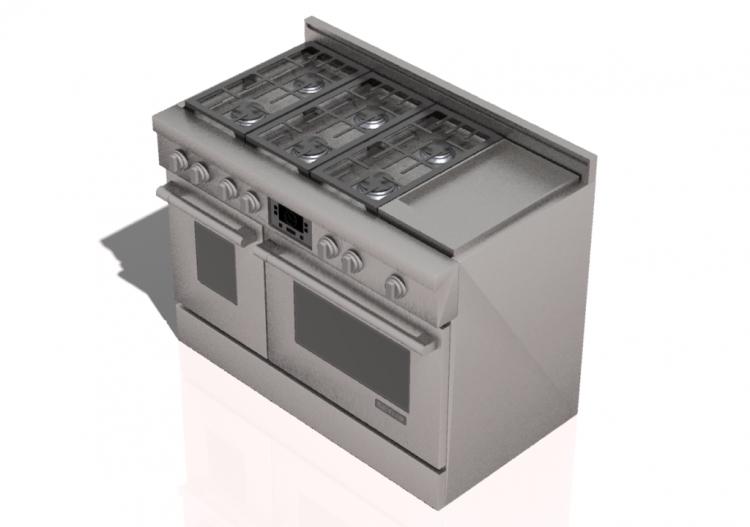 Elettrodomestici 3d cucina 6 fuochi a gas e piastra con - Elettrodomestici cucina a gas ...