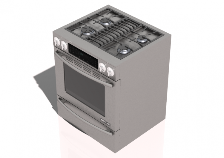 3D - Free standing kitchen with 4 gas burners and...