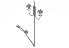 3D Street Lights - Double Arm Street Light pole