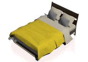 Beds and Side Cabinets 3D - Bed Structure 140x200cm