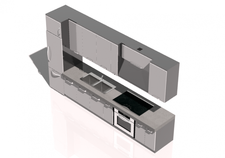mobili 3d cucina lineare mcdesign mod pat acca On mobili 3d
