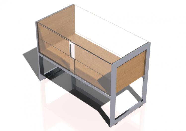mobili 3d banco cassa con piano in vetro 120x86cm acca