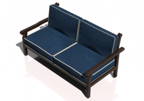 Chairs and Sofas 3D - 2 seater solid wood sofa - Sierra - 22052