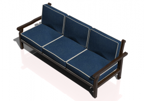 Chairs and Sofas 3D - 3 seater solid wood sofa - Sierra - 22053