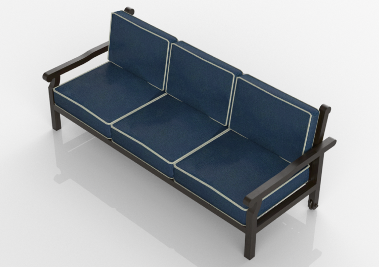 Chairs and Sofas 3D - Divano 3 posti in legno massello -...