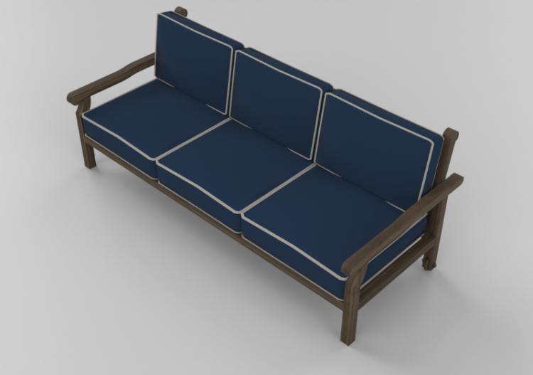 Dimensioni Divano 3 Posti.Chairs And Sofas 3d Divano 3 Posti In Legno Massello