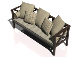 Chairs and Sofas 3D - 3 seater solid wood sofa - Sierra - 22515C
