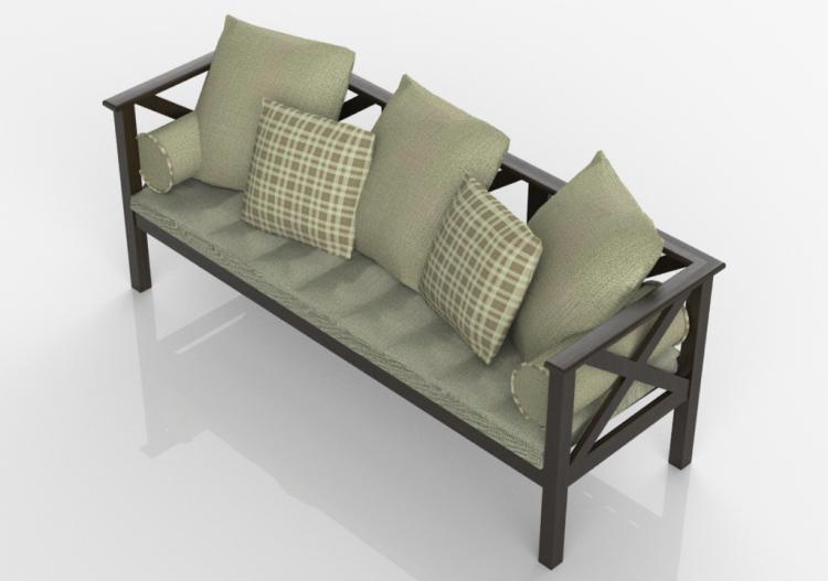 Sedie 3D - Divano 3 posti in legno massello - Sierra -...