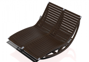 3D Deck chairs and sunbeds - Solid wood rocking deck chair - Sierra - 22044TK