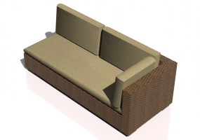 Chairs and Sofas 3D - Wicker sofa with backrest and left armrest