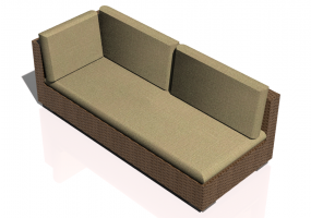 Chairs and Sofas 3D - Wicker sofa with backrest and right armrest