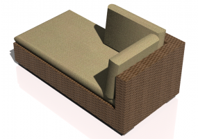 Chairs and Sofas 3D - Wicker sofa with partial backrest and left armrest
