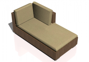 Chairs and Sofas 3D - Wicker sofa with partial backrest and right armrest