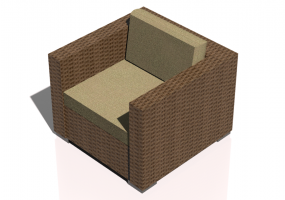 Chairs and Sofas 3D - Wicker chair with armrests