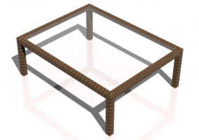 3D Tables - Wicker Table 100x78cm
