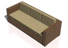 Chairs and Sofas 3D - Wicker sofa with 3 seats