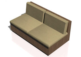 Chairs and Sofas 3D - 2 Seater Wicker sofa