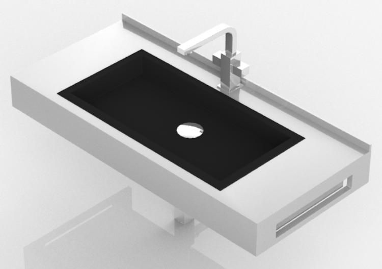 Lavabi 3D - Lavabo Bagno da incasso 710x420mm - Fiora -...