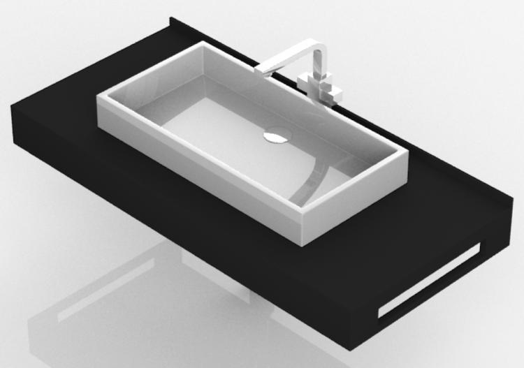 3D Waschbecken - Badezimmer Aufsatzwaschbecken 1010x480mm -...
