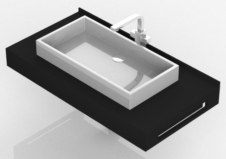 Lavabi 3D - Lavabo Bagno d\'appoggio 710x480mm - Fiora - ...