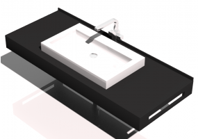 3D Sinks - Bathroom wash basin for base support 1210x480mm - Fiora - FPCI3D