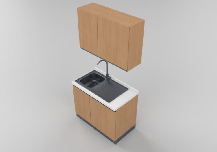 Cucine 3D - Blocco lavello lineare 105x216cm - ACCA...