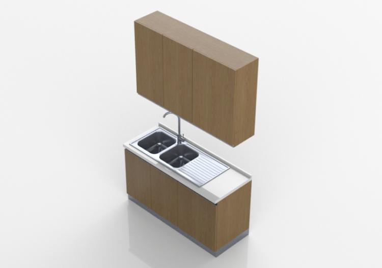 Cucine 3d blocco lavello lineare 150x240cm acca - Software cucine 3d ...