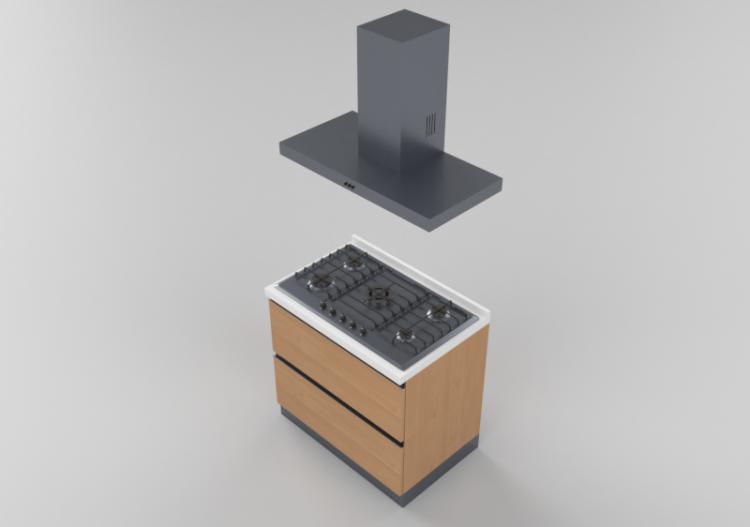 Cucine 3D - Blocco cottura lineare 90x216cm - ACCA software