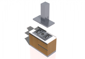 3D Kitchens - Complete cooking block 120x240cm