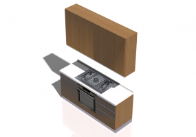 3D Kitchens - Complete cooking block 180x240cm