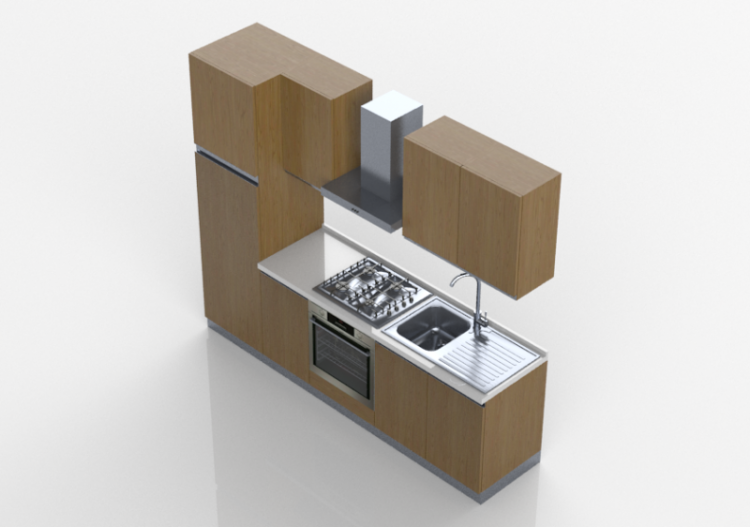 cuisine 3d cuisine lin aire 255x216cm acca software. Black Bedroom Furniture Sets. Home Design Ideas