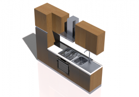 3D Kitchens - Linear Kitchen 255x216cm