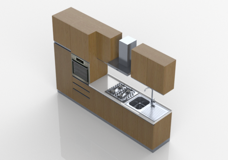 Cucine 3d cucina lineare 315x216cm acca software - Software cucine 3d ...