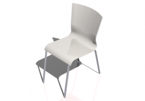 3D Chairs - Chair with wooden seater